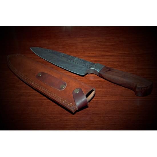 Кухненски нож ръчна изработка от дамаска стомана  - Feather Damascus - CB 100058